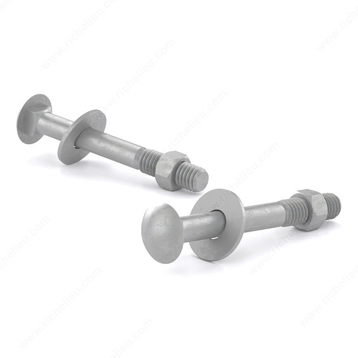 Carriage Bolt with Nut and Washer, Pan Head - Hot-Dip